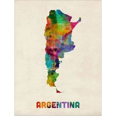 Argentina Watercolor Map, Art Print (995) ❤ liked on Polyvore featuring home, home decor, wall art, watercolor wall art, map wall art and map home decor