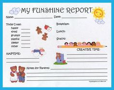 daily report forms for daycare - Daycare Advertising Examples