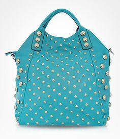 Adorable Teal Studded Bag. I want! !!