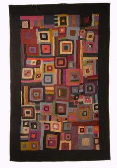 An extraordinary and rare Illinois Amish trundle quilt. Wools.   c 1890 - 1920