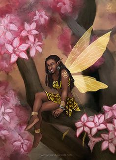 Copper - African Fairy with Impala Lily Flowers Fantasy Art - Brandy Woods