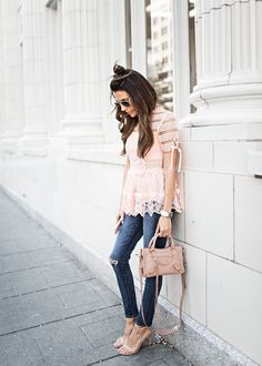Blush lace top + jeans +  nude heels and purse
