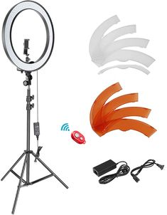 2 Light Modes /& 1/%-100/% Brightness Level Phone Holder Andoer Ring Light Kit,18//48cm Outer 55W 5500K Dimmable LED Ring Light with Adjustable Light Stand for YouTube,Self-Portrait Shooting