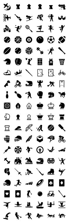 This set contains a load of icons related to sports, like equipment such as balls, rackets, skates and clothing, and pictograms for a wide array of sports and disciplines from ball games to gymnastics and martial arts. This set includes approximately 5850 unique icon shapes ( without counting sizes ), and all sizes: 20, 30, [...]