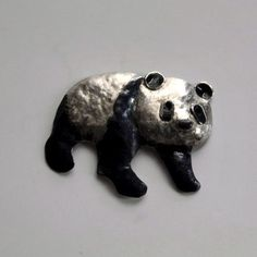 Giant Panda   Oxidised Silver Brooch - product images  of SCHJ  #silverbrooch #silverjewellery #jewelry #jewellery #brooch  #jewellerystore #jewelleryboutique