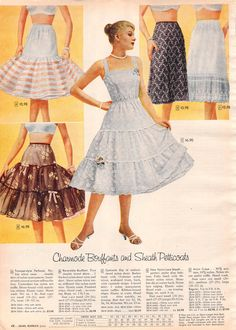 Dresses from the are easily spotted. The hemline stops around the knee, they look best over a stiff petticoat, and they were fun to twirl in! Vintage Fashion 1950s, Sixties Fashion, Vintage Hats, Victorian Fashion, Vintage Style, Lingerie Vintage, Vintage Underwear, Women's Underwear, Organza