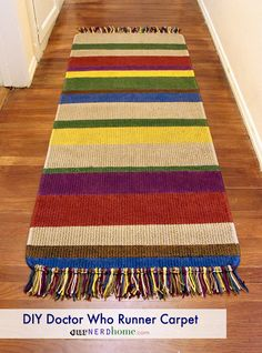 Make your own DIY Doctor Who rug, inspired by Tom Baker's scarf.