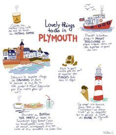 Un super séjour à Plymouth, près des Cornouailles, ça vous tente? Alors par ici pour plus d'infos sur ce chouette voyage en Angleterre au bord de l'eau. Plymouth, Cornwall, Road Trip, Wanderlust, England, Europe, Illustrations, How To Plan, Places