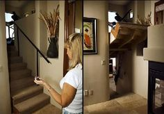 How cool is that?  Push a button and your stairs that lead up, move and reveal stairs going down into a secret room!