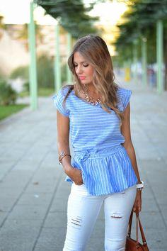 Light Blue Stripe Tie Waist Peplum Blouse
