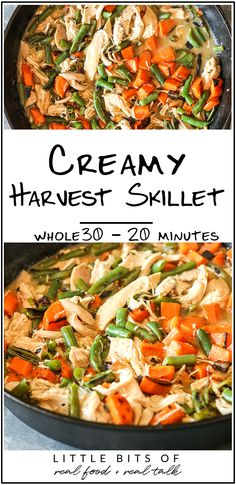 This Creamy Harvest Skillet is a quick 20 minute dinner that is Whole30 compliant and delicious!  #harvestdinner #turkeyskillet #quickmeal #weeknightdinner