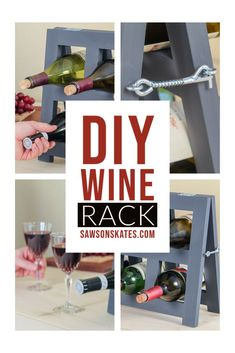 This DIY countertop wine rack is easy to make, stores up to six bottles of wine, and folds to save space. It's simple to build with a few basic woodworking tools and these free plans. #sawsonskates