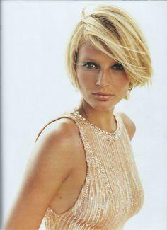 A first look at Bridget Hall's blonde chop back in US Elle 2001. Dress - Versace, photo Gilles Bensimon, hair Michel Aleman for Frédéric Fekkai, makeup Matin.