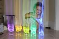 Sound unit?? Glow stick xylophone. Put the glow sticks in cups of water and an aura comes off in the dark, when you tap them. Gotta try this...