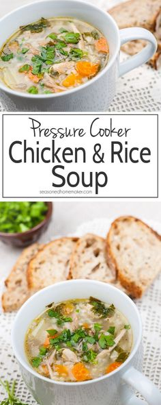 Chicken & Rice Soup is the perfect comfort food. Learn a fast and easy way to make nourishing Chicken and Rice Soup in a pressure cooker.