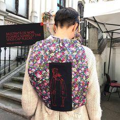 "Rucsac ""Despovărare""* *reproducere după Saul Steinberg #handbag #handmade #custommade #premium #exclusive"