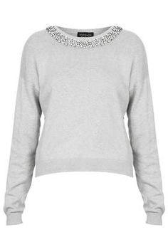 Enamel Necklace Jumper #trend #grey