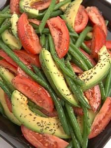 Tomato, Bean and Avocado Salad with Poppy Seed Vinaigrette  Good side or snack  Stricter option: Balsamic Vinegar instead of dressing.