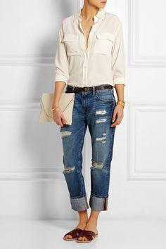 Frame Denim|Le Grand Garcon distressed mid-rise boyfriend jeans|NET-A-PORTER.COM