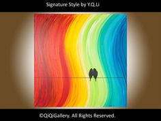 """Original Large Acrylic Abstract painting love Birds on wire """"The Promise"""" by QIQIGALLERY"""