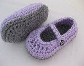 Easter Baby Girl Shoes / Slippers / Booties Purple & Grey Crochet - YOUR choice size newborn - 12 months - photo prop - children