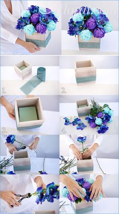 DIY purple and blue wedding centerpiece! Bright and beautiful wedding ideas from Afloral.com! | DIY wedding centerpiece | DIY wedding ideas | DIY bride