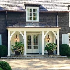 """Breezeway roof line facing the north, becomes new """"front door""""? Also, a copper roof over the breezeway? Not on keeping with the house? House With Porch, House Front, Porch Posts, Building A Porch, Breezeway, House Entrance, House Colors, Exterior Design, Modern Farmhouse"""