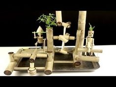 How To Make Water Powered Hammer and Hand Saw for Bamboo Water Fountain. I diy a water fountain, amazing a water park from Bamboo with a water powered hammer.