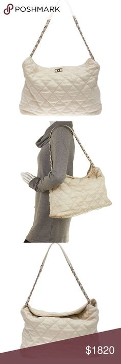 Chanel Cream Quilted Leather Shoulder (111235) •Exterior / Interior Condition: Gently Used •Origin: France •Meas (L x W x H): 16x5.5x12 •Strap Drop: 12 •Odor: None •Production Code: 18090278 •It shows significant creasing, scuffing, and discoloration to the exterior, moderate wear and loose stitching to the exterior bottom surface, noticeable staining and wear to the interior and interior pocket, and minimal scratching to the hardware. Ref: 121464-111235-UNM-SL IPL: SR-28 CHANEL Bags…