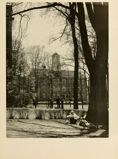 Athena Yearbook, 1953. People on College Green. :: Ohio University Archives
