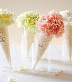 Pastel flower ice cream cones:)