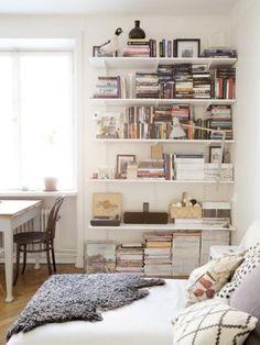 Orientation, floor to ceiling shelves