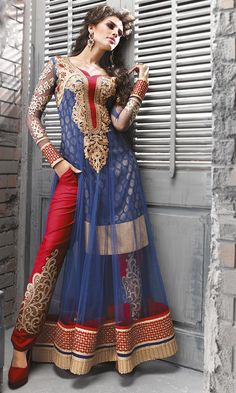 Red and Blue Pant Style Anarkali