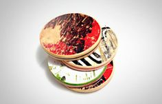 Recycled skateboard drink coasters