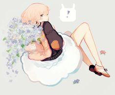 Cuteee ;; Astral would probably come from the fields or flower shop with a backpack full of flowers like that o3o;