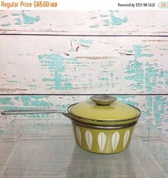 SALE Vintage Cathrineholm Lotus Avocado Green Small Saucepan Cooking Pot With Lid Mid Century Modern Chef Kitchen Vtg by AllisonKapner on Etsy https://www.etsy.com/listing/535527495/sale-vintage-cathrineholm-lotus-avocado
