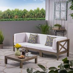 Noble House Brava Grey Acacia Wood Patio Conversation Sectional Seating Set with White Cushions 54513 - The Home Depot Outdoor Sofa, Outdoor Furniture, Wooden Furniture, Furniture Logo, Coaster Furniture, Furniture Storage, Antique Furniture, Coffee Table Frame, Coffee Table Dimensions