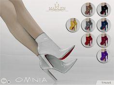 New breathtaking ankle boots for your sim! Come in 9 colours (patent leather texture). Joints are perfectly assigned. All LODs are replaced with new ones.  Found in TSR Category 'Sims 4 Shoes Female'