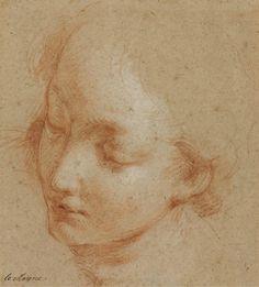 Francois Lemoyne (1688-1737) A female head turned towards the left (18,3 x 16,5 cm)