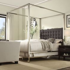 INSPIRE Q Solivita Off-white Linen Canopy Button Tufted Metal Poster Bed | Overstock.com Shopping - The Best Deals on Beds