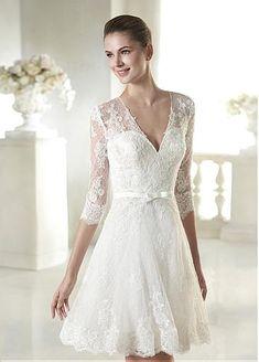 Elegant Tulle V-neck Neckline Natural Waistline Short A-line Wedding Dress With Beaded Lace Appliques