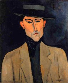 Reproduction with Oil painting effect of painting made by Modigliani Amedeo - Portrait Of A Man With Hat Jose Pacheco Amedeo Modigliani, Modigliani Paintings, Italian Painters, Italian Artist, Rembrandt, Karl Schmidt Rottluff, Creation Art, Edvard Munch, Painting People