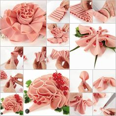 Sausage Flower – rose Sausage Butterfly Sausage Butterfly ---- More DIY Ideas ---- Here are a master class with photos on the main course decoration with sausage slices, they are so creative… Meat Trays, Meat Platter, Food Platters, Meat Cake, Appetizer Sandwiches, Appetizers, Catering Food Displays, Charcuterie And Cheese Board, Cute Snacks