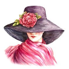 Art Sketches, Art Drawings, Painted Hats, Face Art, Portrait Art, Art Pictures, Art Girl, Painting & Drawing, Watercolor Art