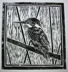 Lino cut print of Kingfisher by Sarah Morrish. Check out her website at:  http://www.natures-details.com/printmaking.html