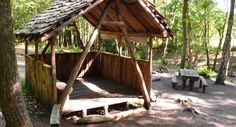 Streamside campsite at Wilderness Wood - Has a wooden shelter