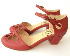 Cherry Pie Taco  Sandal in red leather  Handmade in by QuieroJune