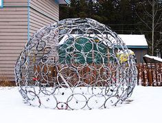 art with bicycles | bicycle wheel dome designer philippe lablond bicycle shop owner ...