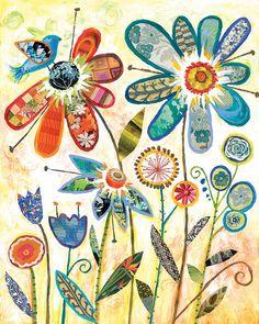 Wild Garden Flower Collage art by Lori Siebert, Whimsical, Collage, Colorful, Patterned, Lori Seibert, WG