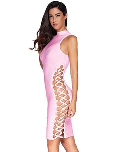 c8b9f8c4e132 Amazon.com  Meilun Women s Rayon Lace Up Contour Bodycon Bandage Elsa Dress  (Large